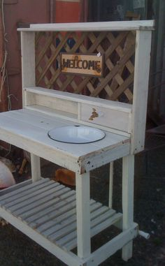 great potting bench with a water tap