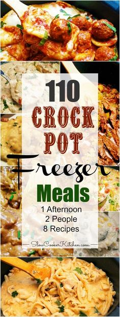 110 Crockpot Freezer Meals in 1 Afternoon is part of Crockpot recipes Freezer - If you're looking for an EPIC crockpot freezer meals cooking session Check this out! 1 afternoon, 2 people, 8 recipes and you get 110 freezer meals Freeze Ahead Meals, Slow Cooker Freezer Meals, Easy Freezer Meals, Freezer Cooking, Crock Pot Cooking, Slow Cooker Recipes, Crockpot Recipes, Cooking Recipes, Freezer Recipes