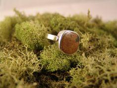 Ocean Jasper Ring   (Mustard Yellow Ocean Jasper Size 6). $75.00, via Etsy.