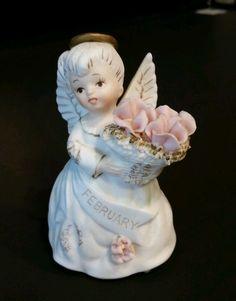 Mint Vintage Lefton February Birthday Angel Ceramic Figurine 3332 Roses