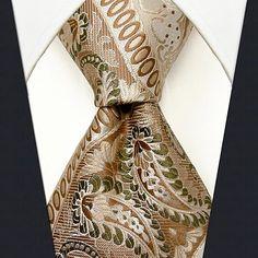 Men's Casual Beige Silk Floral Print Necktie 2018 - $16.19