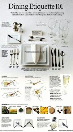 Eating at a fancy (expensive) restaurant, dining etiquette.