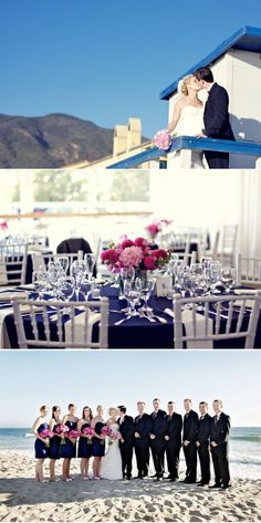 what our tables might look like with navy tablecloths and white chairs.