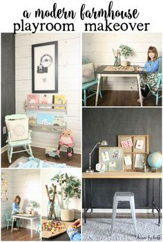 A Modern Farmhouse Playroom Makeover via House by Hoff