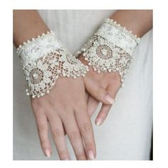 Krista R Blanche- antique lace wrist cuffs ($145) ❤ liked on Polyvore