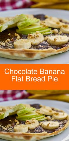 Yummy recipe with homemade flat bread, chocolate pudding and topped with bananas, sliced apples and nuts.  Easy to make and even easier to eat.