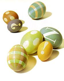 But, what is Easter without an egg or two?  Martha uses vinyl and tape to create modern dyed and stenciled eggs.