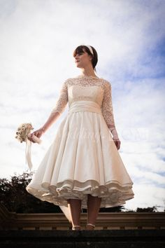 US$121.85-Illusion Half Sleeve High Neck A-Line Taffeta Tea Length Wedding Dress with Sleeves. http://www.doriswedding.com/illusion-half-sleeve-high-neck-a-line-taffeta-tea-length-dress-pET_711573.html. Order customized wedding dresses at cheap price here, you can have your favorite 2016 style for your own wedding dress. Come in and get your style. #DorisWedding.com