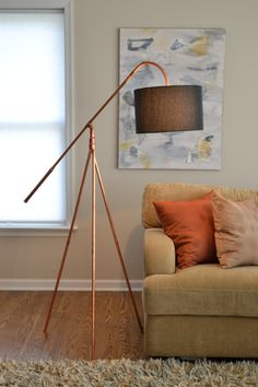 "Copper Tube ""Heron"" Tripod Industrial Floor Lamp by AtDCopperCreations on Etsy"
