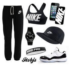 """Nike/black/workout/Jordan11"" by itsbjs on Polyvore"