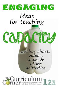 Engaging Ideas for Teaching Capacity by The Curriculum Corner FREE…many come with free printables! Teaching Measurement, Teaching Math, Measurement Activities, Teaching Ideas, Kindergarten Math, Capacity Activities, Math Activities, Homeschool Math, Curriculum