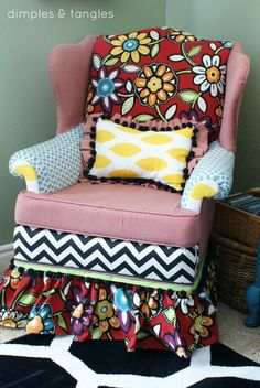Dimples and Tangles: How to Reupholster a Chair...with a Hot Glue Gun! {Way Back Wednesdays}