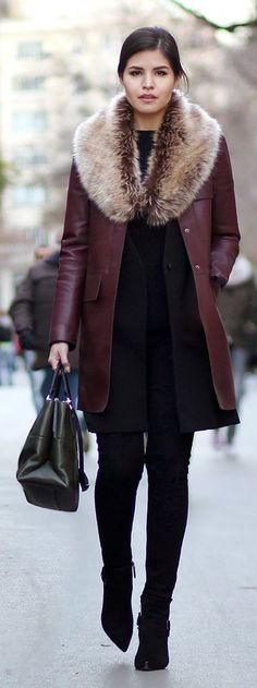Burgundy Leather Faux Fur Collar Coat by Fake Leather