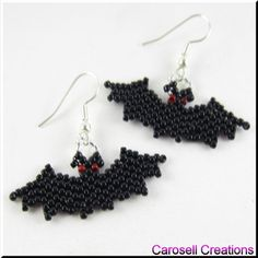 Halloween Vampire Bat Seed Bead Holiday Earrings TAGS -  Jewelry, Earrings, Beadwork, Beaded, carosell creations, glass seed beads, halloween, holiday, bat, red, black, vampire, spooky, fun, october, brick stitch, weave, goth, wing, wicked, haunted, dangle, pierced accessories, jewelry, earrings, etsy, handmade, women, ladies fashion     flying night scary     off loom peyote     brick stitched