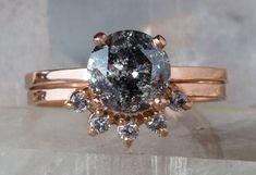 Natural Salt + Pepper Galaxy Diamond Ring