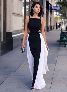 summer style Women Beach Sexy Sleeveless Backless Hollow Out Patchwork Chiffon Maxi Long Dress Black Strap Party Vestido u2