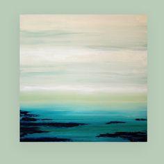 Il sagit dun dun aimable peinture acrylique artiste Ora Birenbaum. Si vous êtes intéressé dans une peinture similaire dune taille différente, sil vous plaît contactez-moi. Il sagit dune belle peinture abstraite. Jai utilisé une variété de nuances décume de mer poussiéreux, crème et spa bleu avec du blanc. Il y a un soupçon de vert à lhorizon et jai terminé ce morceau avec profondes nuances de brun chocolat et un peu de bleu marine et magnifique turquoise foncé riche et Sarcelles. Cette…