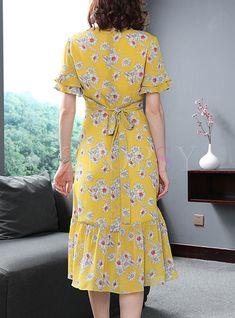 Street Chiffon Floral Print A Line Dress - Dresses Modest Dresses, Simple Dresses, Cute Dresses, Casual Dresses, Skater Dresses, A Line Dresses, Floral Dresses, Floral Chiffon, Chiffon Dress
