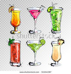 Hand drawn illustration of set of cocktails