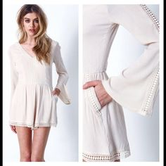 """NWT Boho Cream Romper Fully lined. Simply boho chic. Crepe romper with a delicate crochet detailing and sweeping bell sleeves. Slip pockets on the sides and tied scoopback. Hidden zipper in back, and built in lining and slip shorts. Size S 29"""" Waist 25"""" . Size M : Bust 31"""" Waist 28"""" Pants Jumpsuits & Rompers"""