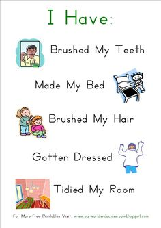 Simple Morning Routine Chart - no rewards or punishment - just a guideline for kids to follow.