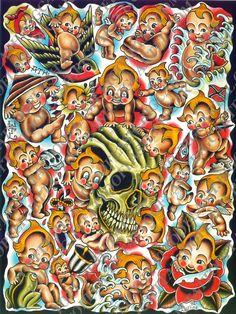 """Kewpie Doll flash page 18""""x 24"""" by John Collins"""