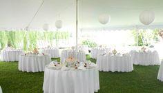 wedding reception tables with pretty milk glass flower centerpieces 6/2011