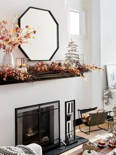Mantel Magic Fall is for mantels. Layer true-to-life botanicals and flickering candlelight to bring the outdoors in. NEW Octagon Grey Oak Wall Mirror Fireplace Screens With Doors, Mirror Above Fireplace, Fireplace Mantle, Mantle Mirror, Fireplace Remodel, Fireplace Design, Black Accent Table, Traditional Wall Mirrors, Fireplace Accessories