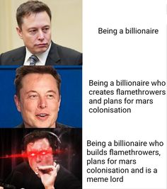 10 Elon Musk Memes That Prove He's An Evil Supervillain In The Making Stupid Funny Memes, Funny Fails, Haha Funny, Funny Texts, Funny Stuff, Funny Humor, Funny Things, Random Stuff, Funny Tumblr Stories