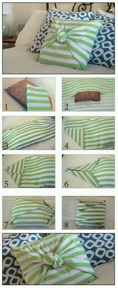 No sew pillow <3 Totally doing this! AND you could match two similar fabrics for a layered look.