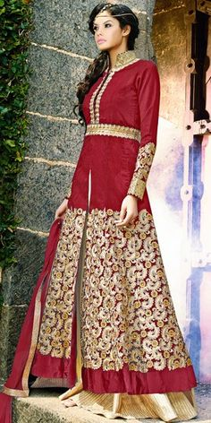 Elegant Red Georgette Designer Anarkali Suit With Chiffon Dupatta.
