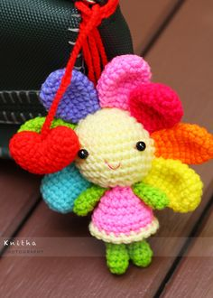 Crochet Flower Doll with 2 Red Hearts / Bag Hanger / Colourful /
