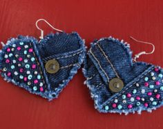 Earring - Heart-Shaped, Recycled AG Denim - Hand-Beaded - Upcycled