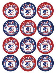 Free July 4th (Independence Day) Printables.  Has banner, water bottle labels, cupcakes sleeves and tags/toppers.
