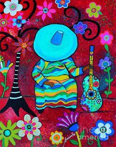 Mexican Art, Mariachi, Sombrero, Tree of Life, Restaurant art, Mexican Painting, Guitar, Guitarra, Gitara, Flowers, Florals