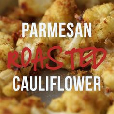 Parmesan Roasted Cauliflower (vegan recipes with vegan cheese) Vegetarian Recipes, Cooking Recipes, Healthy Recipes, Free Recipes, Parmesan Roasted Cauliflower, Garlic Parmesan, Roasted Garlic, Easy Cauliflower Recipes, Cauliflower Side Dish