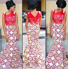 Red/yellow/cream Ankara print fabric dress with chiffon detail. ~Latest African Fashion, African women dresses, African Prints, African clothing jackets, skirts, short dresses, African men's fashion, children's fashion, African bags, African shoes ~DK