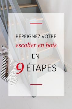 [TUTO] Suivez nos 9 étapes pour repeindre rapidement et simplement votre escalier en bois ! #v33 #peinture #tuto #décoration #escalier #bois Messages, Inspiration, Home, Dressings, Blog, House Stairs, Painted Stairs, Biblical Inspiration, Ad Home