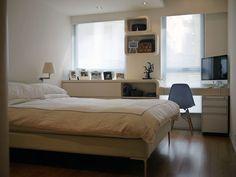 round shelves in white room in hk flat