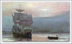"Painting: ""Mayflower in Plymouth Harbor"" by William Formby Halsall, 1882. Source: Wikipedia. Read more on the GenealogyBank blog: ""William Halsall: Artist of 'Mayflower in Plymouth Harbor'"" http://blog.genealogybank.com/william-halsall-artist-of-mayflower-in-plymouth-harbor.html"