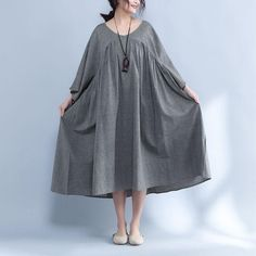 V Neck Three Quarter Sleeve Loose Gray Dress - Buykud Boho Style Dresses, Boho Outfits, Simple Dresses, Short Dresses, Abaya Fashion, Skirt Fashion, Boho Fashion, Fashion Dresses, Ladies Fashion