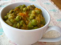 This recipe is very similar to traditional split pea soup, but uses whole frozen peas instead, which makes for a quicker preparation. The addition of yams gives the soup a slightly sweet taste.