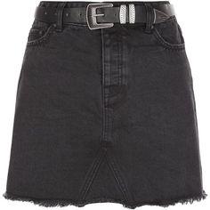 New Look Black Denim Fray Hem Belted Skirt (38 BRL) ❤ liked on Polyvore featuring skirts, bottoms, saias, faldas, black, denim skirt, new look skirts, knee length denim skirt, button-front denim skirts and button skirt