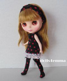 """DOTTY FOR YOU"" - Dress, Socks and Headband for Blythe dolls"