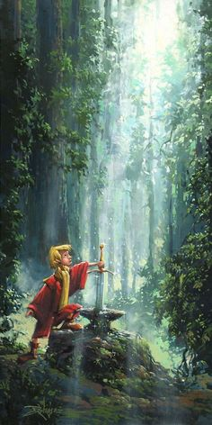 """Arthur's Royal Destiny"" By Rodel Gonzalez - Original Oil on Canvas - The Sword in the Stone"