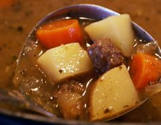 Mom's Beef stew:  Stew meat or chuck roast cut in cubes, potatoes, onions, carrots, peas, bay leaf.  Brown beef in crico reserving liquid.  Chop veggies to same size as meat.  Add water and veggies.  Boil on top of stove, covered.  Thicken to desire.  Add S ~Elaine