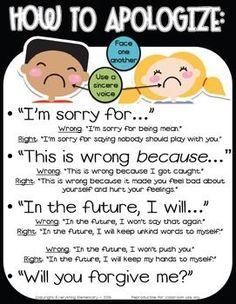 "Promote empathy and apology of action with this ""How to Apologize/Say Sorry"" poster packet to support character education in your classroom. Improve classroom management, teach your students to use positive language, and build a safe and nurturing classroom environment. Includes 2 versions & parent letter."