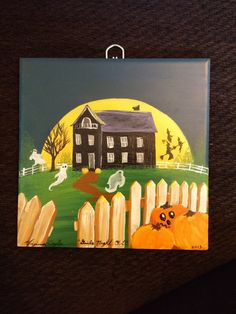 6x6 tile Halloween Scene titled Girls Night Out...