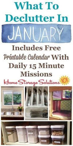 Free printable January decluttering calendar with daily 15 minute missions to sa… – Home Maintenance
