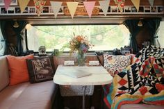Inside  of a cozy RV.  I love it.